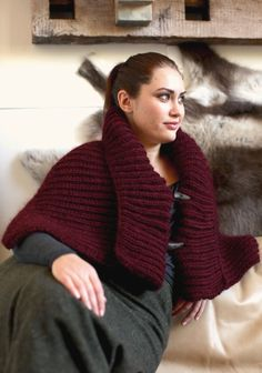 Cacao. Generous rectangle worked in cozy fisherman rib. Fastens with 2 toggles. Quick knit with a bulky weight yarn. Free pattern from Berroco