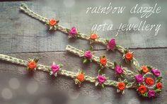 Floral matha patti Rainbow dazzle gota jewellery Gota Patti Jewellery, Thread Jewellery, Cute Jewelry, Jewelry Crafts, Handmade Jewelry, Bridal Necklace, Jewelry Patterns, Wedding Bride, Wedding Jewelry