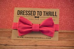 Bright Pink Bowtie for baby / toddler / little boy / child - perfect for weddings, Easter, and family photos.  Handmade in Texas by Dressed to Thrill - www.idresstothrill.com