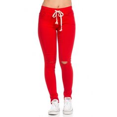 Knee Slit Stretchy Drawstring Jogger Pants in Red ($25) ❤ liked on Polyvore featuring pants, bottoms and pants - leggings