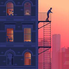 by Folio Illustration Agency City Illustration, Digital Illustration, Pixel Art, Ernst Hemingway, Art Anime, Animation Reference, Wow Art, Art Graphique, Anime Scenery
