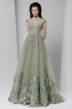 Tony Ward Fall Winter 2016/17: This is a pretty greenish grey color. The color is lovely with the chiffon fabric and the floral appliques