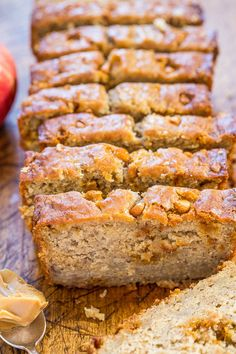 Peanut Butter Apple Banana Bread - Jazz up regular banana bread with peanut butter and apples! A perfect combo that tastes amazing together! Fast, easy, no mixer required, and a hit with everyone! Make extra for the Banana Bread Recipes, Apple Recipes, Sweet Recipes, Yummy Recipes, Recipies, Apple Banana Bread, Apple Cake, Breakfast Recipes, Dessert Recipes