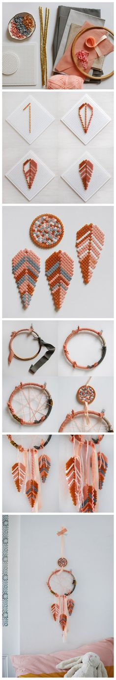 You'll need: A rattan hoop or the inside piece of an embroidery hoop Fabric Yarn Ribbons Gold pipe cleaners (optional, but they add a little sparkle) Hama beads One large square Hama bead base, and a small circle base More info and instructions about this great tutorial you can find in the source url - […]
