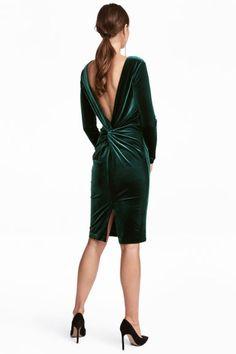 Brokatowa sukienka - Zielony - ONA | H&M PL