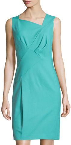 Lafayette 148 New York Melanie Pleated Sleeveless Sheath Dress, Topaz - $224.25