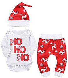Amazon.com : Singleluci Xmas Newborn Baby Romper Tops+Pants+Cap Christmas Deer Outfits (Red, 0-6 Months) : Baby