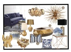 GoldenBlue by kowanse on Polyvore featuring interior, interiors, interior design, дом, home decor, interior decorating, Shine by S.H.O, Eichholtz, AERIN and RabLabs
