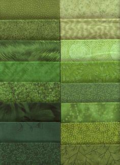 "Grab bag of 8"" x 10"" green prints, 2-3 yards total for $12.00"