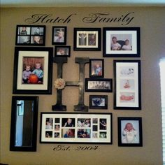 family photo wall, i think adding the letter and wall decal just make the wall that much better. will def be doing this!