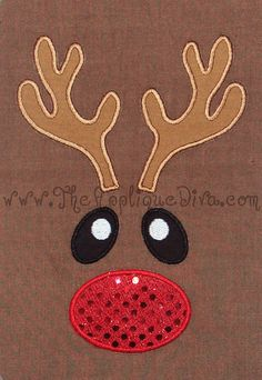 Christmas Reindeer Face  Embroidery Design Machine Applique. $2.99, via Etsy.