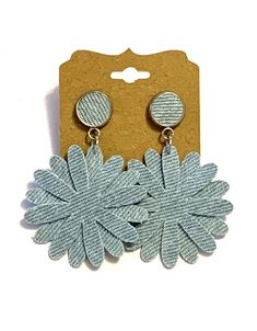 Excited to share this item from my #etsy shop: Light blue jean denim fabric floral drop stud earrings flower boho hippie unique handmade stylish lightweight denim jewelry statement fun#light#blue#jean#denim#fabric#floral#drop#stud#earrings#flower#boho#hippie#denimjewelry#lightweight#handmade#homemade#unique# Diy Denim Earrings, Fabric Earrings, Fabric Jewelry, Earrings Handmade, Handmade Jewelry, Stud Earrings, Pocket Craft, Fabric Christmas Ornaments, Beaded Earrings Native