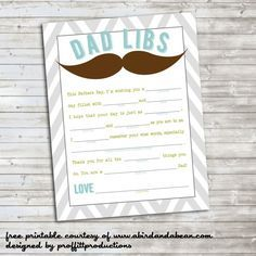 Remember Mad Libs? Well these are printable Dad Libs, perfect for Father's Day or just because.