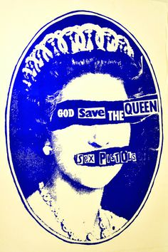 """Day a song that reminds me of this past summer. """"God save the queen"""" by the Sex Pistols. I became obsessed with punk last summer and I went completely punk. I even pierced my ear with a safety pin and I spent my time listening to punk songs like this one Rock Posters, Band Posters, Arte Punk, Punk Art, God Save The Queen, Johnny Rotten, Punk Poster, Queen Poster, Pochette Album"""