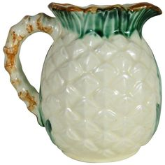 French Majolica Pineapple Pitcher, circa 1900 | From a unique collection of antique and modern pitchers at https://www.1stdibs.com/furniture/dining-entertaining/pitchers/
