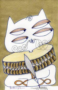 """Saatchi Art Artist daniel levy; Painting, """"poet cat"""" #art"""
