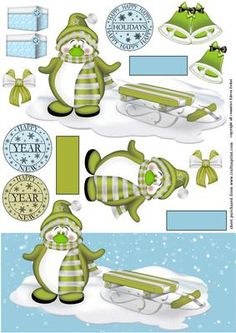 Christmas Penguin in the snow on Craftsuprint - Add To Basket!