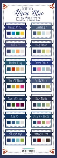 14 Navy Blue Color Palettes by Angie Sandy Design Blue Colour Palette, Navy Blue Color, Colour Schemes, Color Combos, Colour Palettes, Stoff Design, Color Pallets, Color Theory, Color Inspiration