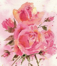 Pink Watercolor Roses Art Print Giclee Fine Art by petalessence