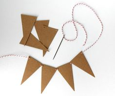 DIY Kraft Bunting 4 ft. Recycled Paper Triangular by LBCpaper - do a coffee filter version?