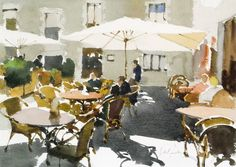 John Yardley ~ The Cafe at Peratallada Art Painting, Landscape Paintings, Cityscape, Watercolor City, Watercolor Pictures, Painting Inspiration, Painting, Watercolor Landscape, Landscape Art