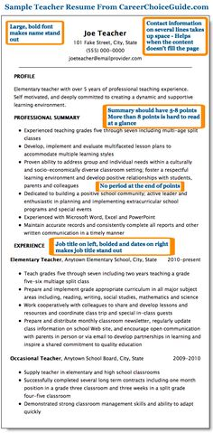 Sample Teacher Resume Page 1  Teacher Sample Resume