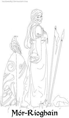 Morrigan Coloring Sheet by LandSeaSky