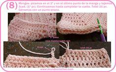 Saquito o Camperita a crochet para niña
