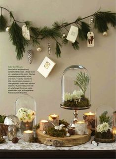 Holiday Decor Inspired by Nature Absolutely love this nature-focued Christmas holiday decor—the various elements are exceptional together❣ Woodland Christmas, Noel Christmas, Country Christmas, Winter Christmas, Christmas Crafts, Christmas Branches, Christmas Buffet, Christmas Garlands, Advent Wreaths