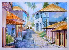 Calle de Yuscarán por Hector Cortes - Pintor y fotografo hondureño Acuarelas (watercolor) de Tegucigalpa y Yuscaran, Honduras