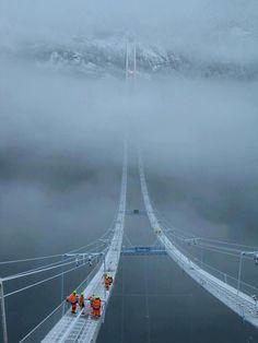 Bridge In Norway through Clouds