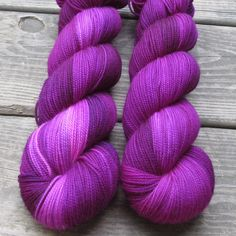 Named for magenta impatiens flowers, this reddish-purple may have occasional blips of dark bluish purple as well as pale bubblegum pink. This colorway is a Babette: every skein and every batch is a bi