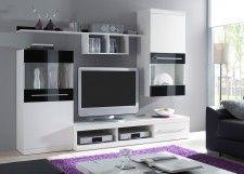 ABANO Wohnwand in Weiß & Glas Schwarz