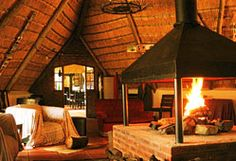 Boma (Thatched lounge) with a big 360 degree fireplace