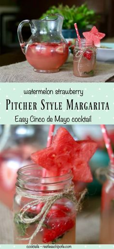 Easy pitcher style margaritas keep the party going on Cinco de Mayo! Best Cocktail Recipes, Sangria Recipes, Margarita Recipes, Drink Recipes, Potluck Recipes, Cooking Recipes, Refreshing Cocktails, Fun Cocktails, Party Drinks