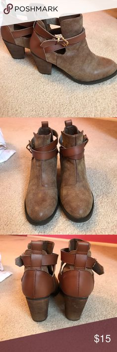 Brown Booties Super cute. Worn a few times. A couple spots on the heel but that's it. Very comfortable! Mossimo Supply Co. Shoes Ankle Boots & Booties