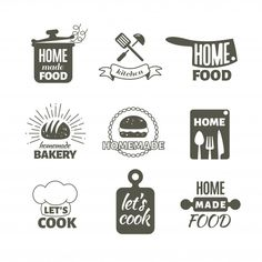 Retro Kitchen Cooking Home Handmade Vector Stock Vector (Royalty Free) 623635208 Logo Restaurant, Food Logo Design, Logo Food, Kitchen Cabinet Design, Modern Kitchen Design, Badges, Kitchen Posters, Diy Kit, Cook At Home