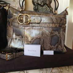 GUCCI Lrg Python Top Handle w/ Dtchble Strap NWT Absolutely real. size is 16x16x7. The bag was 3450 plus tax or more.  It came from Neimans last season.  I never took it out of the box.  It has all of the paperwork and eve te sample swatch still included. Gucci Bags