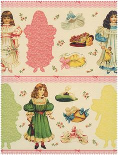 Blue Hill, Victorian Paper Dolls, PANEL.