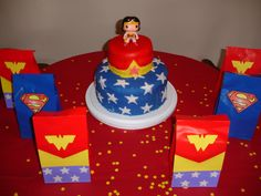 Wonder Woman Party Cake and Favor Bags