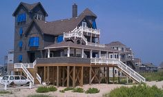 "The ""Nights of Rodanthe"" house Serendipity at its new location in Rodanthe and how it looks currently.  The new owners have done a great job in making it livable again!"