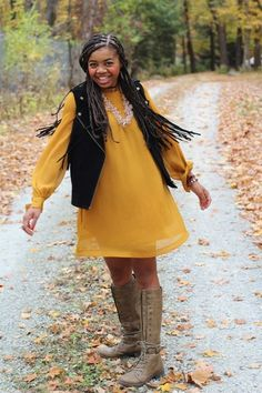 #boho #fringe #mustard #boots #fall #casual