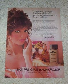 1982 ad page - Max Factor Skin Principle beauty JACLYN SMITH print advert page