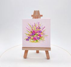 This original miniature flower garden canvas has a pale pink background, pink roses, with purple and yellow daises. By Julia Underwood & Jewells Art. Blue Bell Flowers, Pink And Purple Flowers, Pale Pink, Mini Paintings, Your Paintings, Original Paintings, Peach Background, Flower Painting Canvas, Rosa Rose