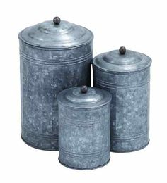 Rustic 3 Piece Traditional Galvanized Canister Set