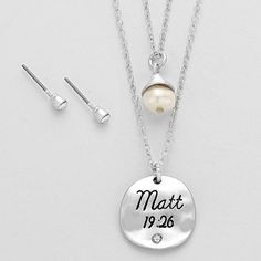 """Coming soon✨Matt 19:26 Scripture Double Necklace Coming soon✨Matt 19:26 Scripture Double Necklace with earrings✨                               NECKLACE : 16"""" LENGTH X 3"""" EXTENSION  PENDANT: 0.75"""" X 0.75""""  EARRINGS: 0.1"""" LENGTH Jewelry Necklaces"""