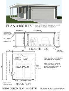 Best 2 Car Flat Roof Garage Plan No 400 1Ft By Behm Design 20 400 x 300