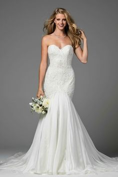 Watters 2017 bridal collection Minerva strapless trumpet wedding dress sweetheart neckline lace