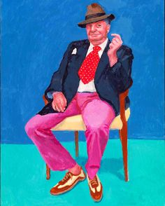 This greetings card features David Hockney RA's technicolour portrait of Barry Humphries, currently in the Royal Academy's 'David Hockney: 82 Portraits and 1 Still-life' exhibition. David Hockney Portraits, David Hockney Art, David Hockney Paintings, Peter Blake, Pop Art, Barry Humphries, Amédéo Modigliani, Jenny Saville, Guggenheim Bilbao