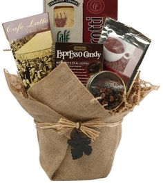 Coffee Gift Baskets - Art of Appreciation Gift Baskets Espresso Yourself Coffee Lovers Set. We blend the most popular of coffee flavored goodies into a beautiful gift that just happens to fit any gift giving occasion and budget. It's perfect for your coffee loving gift recipient!